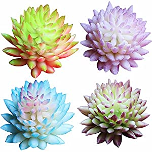 TRYAH 4 Pack Artificial Givalian Faux Succulent Plants,Cute Green Home Garden Fake Succulents for Plants Wall Decoration DIY Materials 42