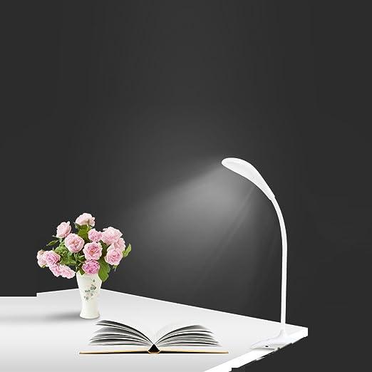 Lesen Camping- Wei/ß Einstellbare Schwanenhalslampe mit USB-Anschluss zum Studieren Dimmbare Schreibtischlampe 14LEDs Eye-Care Tischleuchte mit 3 Level Dimmer Touch Control Arbeiten