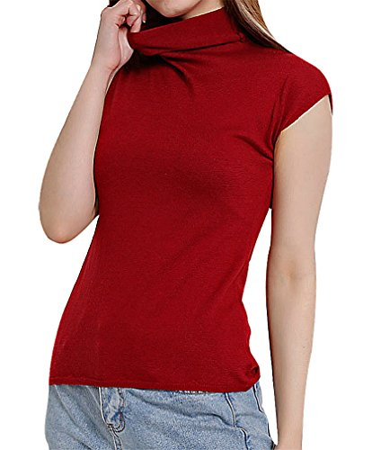 BLady Women Cotton Microfibre Turtleneck Short Sleeve Solid Color Sweater, WineRed M ,Manufacturer(L)