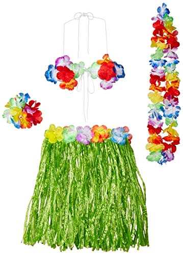 Child Hula Outfit Set Includes: Skirt, (Bikini Top, Wristlets/Anklets, Lei) Party Accessory  (1 count) (1/Pkg) -