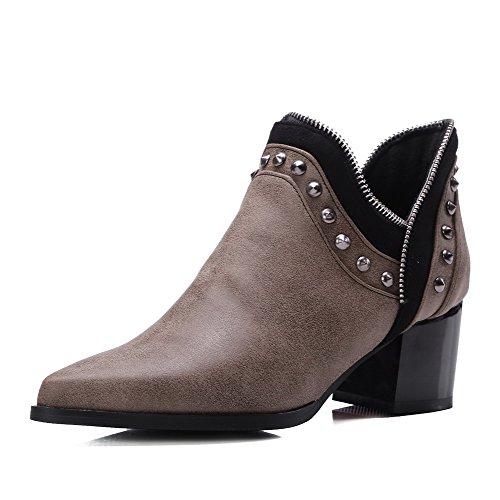 VogueZone009 Damen Ziehen auf PU Leder Mittler Absatz Spitz Zehe Stiefel, Grau, 41