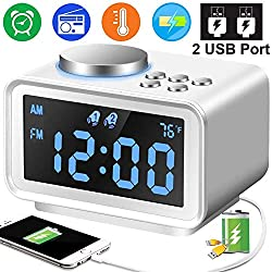 Digital Alarm Clock - 3.5 Blue LCD Alarm Clock FM Radio with Dual USB Charging Ports Snooze Function Temperature Dimmer Sleep Timer, Adjustable Alarm Volume, 12/24 Hours for Prime Back to School Gift