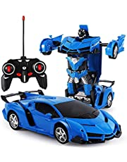 ZeroPlusOne® RC Car for Kids, 1:18 Transform Car Robot, 2.4GHz Rechargeable 360°Rotating Drifting Realistic Engine Sounds Remote Control Toy Car, Best Kids and Adults (Blue)