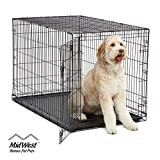 XL Dog Crate | MidWest ICrate Folding Metal Dog Crate w/ Divider Panel, Floor Protecting Feet & Leak Proof Dog Tray | 48L x 30W x 33H Inches, XL Dog Breed, Black