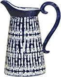 Home Essentials 11-inch High Modern Blue Hand Painted Pitcher