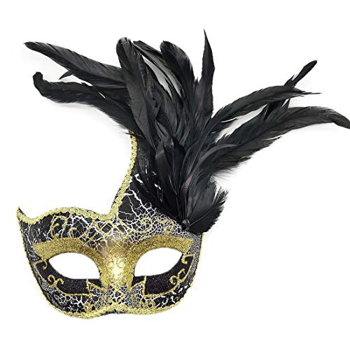 Biruil Feather Masquerade Mask Eyemask Halloween Mardi Gras Cosplay Party Face Mask (Crack Black)