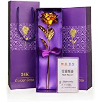 ShopAIS 24K Gold Rose with Gift Box and Carry Bag - Best Gift On Valentine's Day, Rose Day. Gold Dipped Rose with Gift Box