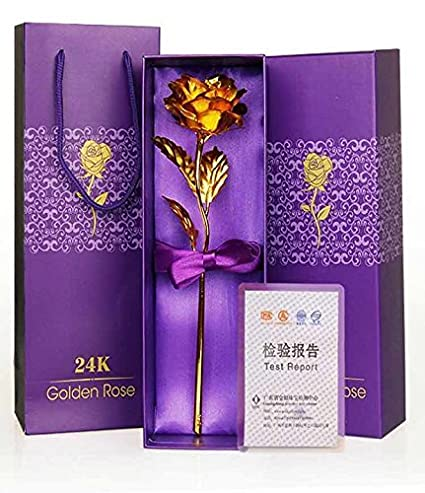 Rose Day Indigo Creatives 24K Gold Rose 10 Inch With Gift Box - Best Gift For Loved One on Valentine, Father / Mother Day, Anniversary, Birthday With Gift Box