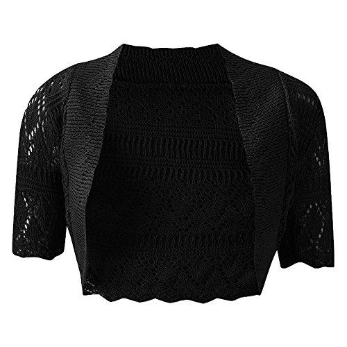 unica 22 taglia Cardigan Maglia da a Maglia corte donna Shrug Plus maniche Black uk8 Bolero 8qOTq