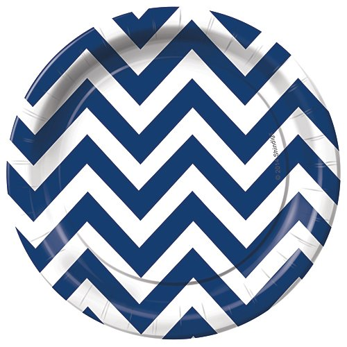 Navy Blue Chevron Dessert Party Plates Pack of 8 Party Tableware Supplies Decorations -