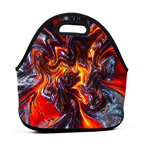 (NBXIXI Lava Colorful Psychedelic Pigment Splash Lunch Bags Multi-Purpose Bento Boxes Lightweight and Reusable Tote Bag for Youth)