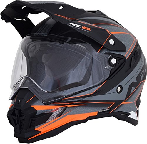Afx Helmet (AFX 0110-5357 FX-41DS Frost Gray/Neon Orange Eigar Helmet (Gray/Orange, Large))