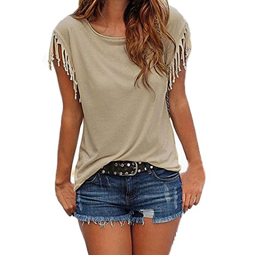 Ringer Short Sheer Sleeve Tee (Kangma Women Summer Sexy Tassel Short Sleeve Top Loose Blouse T-Shirt)