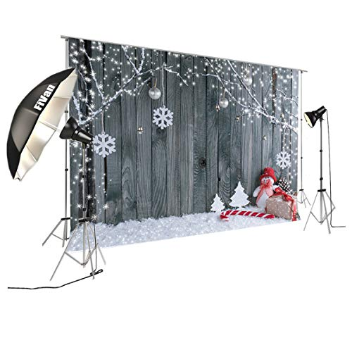 (FiVan  Wood and Snowman Design Photo Backdrop For Winter Home Party Pictures Baby Children Studio Xmas Portraits Background)