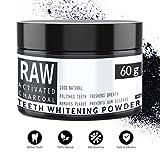 RAW - Carbón Activado de Cáscara de Coco 100% Natural - Blanqueador Dental - Efectivo para Blanqueamiento de Dientes - Quitar Manchas y Placa de los Dientes - De Qvene (60g)