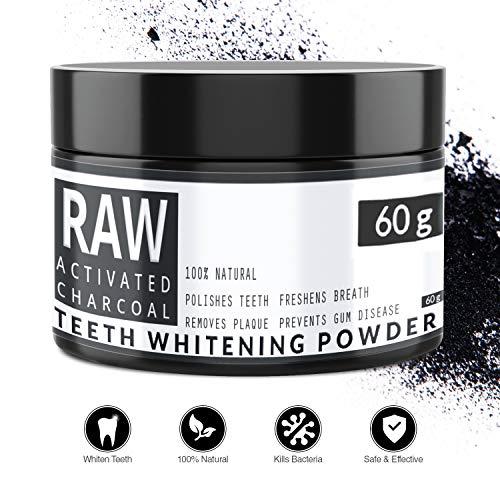 RAW - Carbón Activado de Cáscara de Coco 100% Natural - Blanqueador Dental - Efectivo para Blanqueamiento de Dientes -...