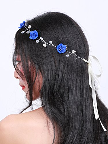 (Missgrace Bridal Crystal Navy Blue Headband Wedding and Bride Hairpiece for Evening Party -Navy Blue Flower Women and Flower Girl Vintgae Hair Vine Bridal Hair Accessories)