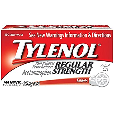 Tylenol Regular Strength Tablets, Fever Reducer and Pain Reliever, 325 mg, 100 ct. by AmazonUs/JOBN7