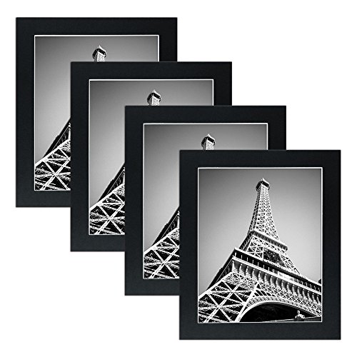 Mat Board Picture Frames - Multi Pack Frame Set 4pc . Wall gallery photo collage artwork and flat low profile kit BLACK. No Nails Required. Hanging strips included. (8x10)