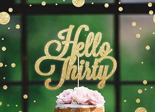 Hello Thirty - Decoración para tarta con purpurina dorada ...