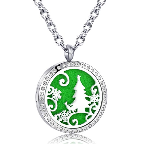Price comparison product image AZORA Aromatherapy Essential Oil Diffuser Necklace Christmas Tree Pattern Stainless Steel Locket Pendant