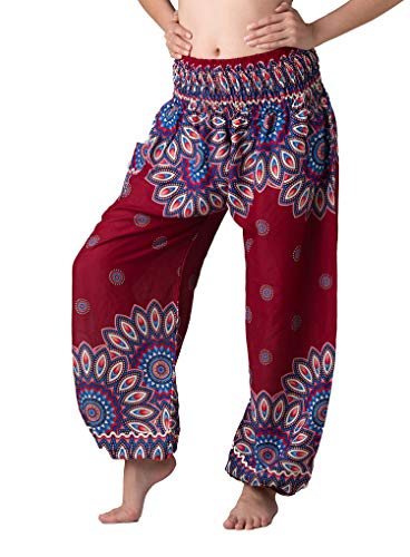 Bangkokpants Women's Boho Pants Hippie Clothes Yoga Outfits Peacock Design One Size Fits (Red Flowerbloom) -