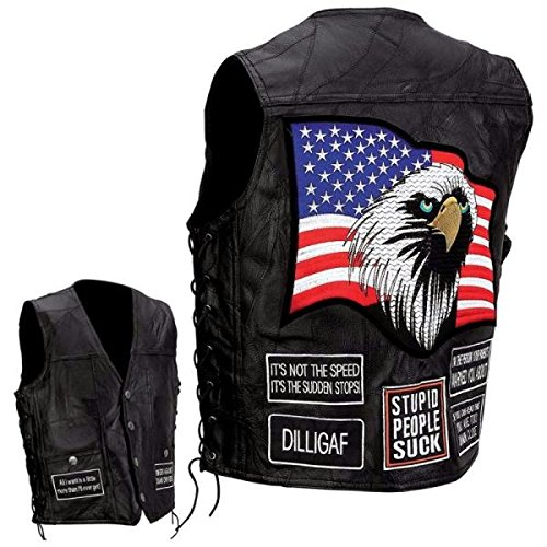 Diamond Plate Rock Design Genuine Buffalo Leather Concealed Carry Vest With Patches- 3x Diamond Plate Mens Vest