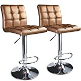 Leopard Square Back Adjustable Hydraulic Swivel Bar Stools, Set of 2, Gold