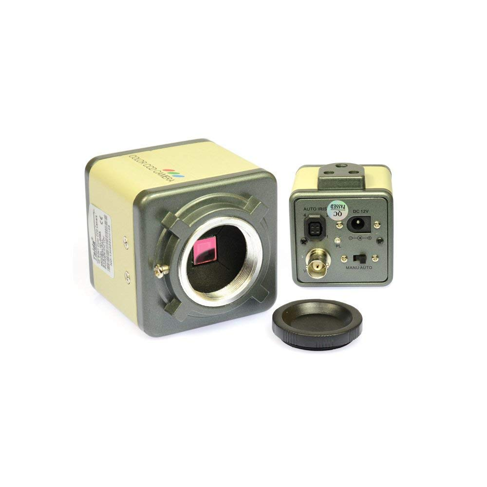 800TVL CCD 100X Microscope Industrial Camera Kit C-Mount Lens BNC Output 40 LED Ring Light 7 LCD Monitor
