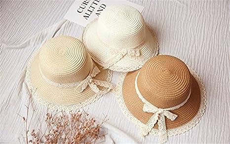 0043fec0857f3 Hosaire 1x Sombreros del Sol Encaje Pajarita Sombrero de Paja para bebé  para Gorras de Visera UPF 50+ Protección UV Verano Playa Gorro Size 48-52cm  (Caqui)  ...