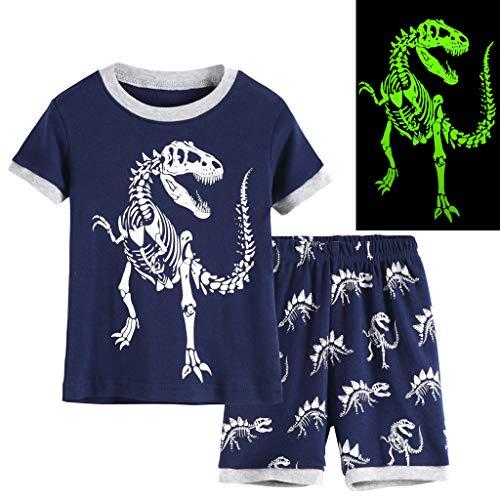 Hsctek Kids Pajamas, Short Sleeve Children Pajamas, Summer Cotton Boys Clothes(Glow in Dark Dinosaur, 7) -