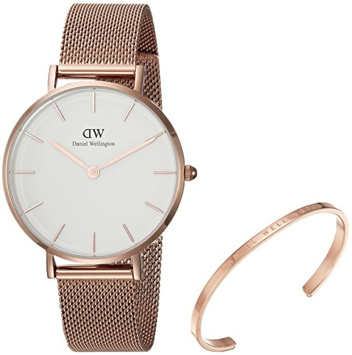 Daniel Wellington Gift Set, Classic Petite Melrose 32mm Watch with Rose Gold Classic Cuff