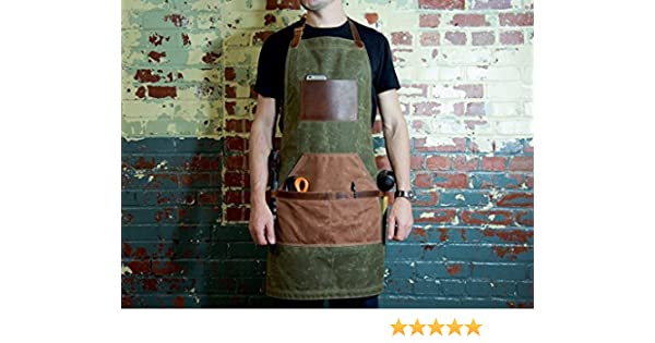 Painting Woodworking Green Canvas Apron for Serving Handcrafted Waxed Canvas and Horween Full-Grain Leather Adjustable Work Apron with Pockets Monogrammed Vintage Gift Gardening Grilling