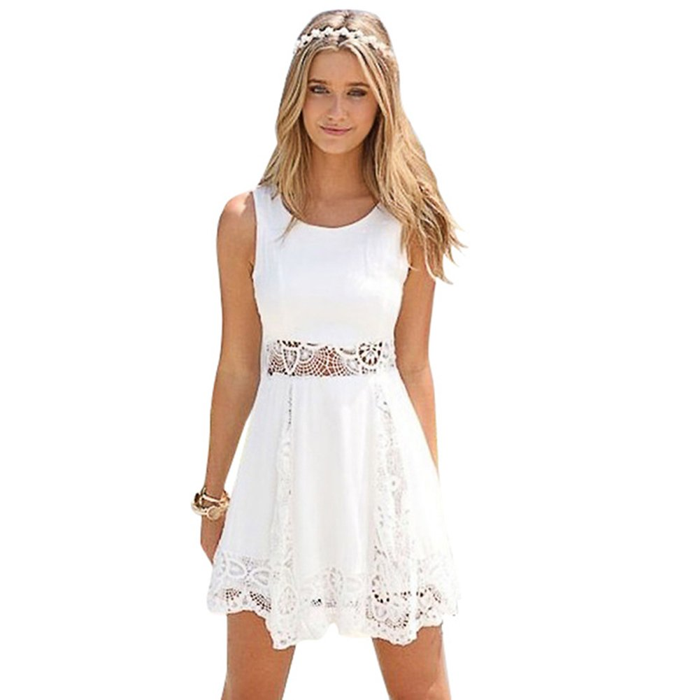 Women Summer Sleeveless Hollow Out Lace Crochet Sundress Crew Neck White Short Dress