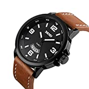 Amazon Lightning Deal 98% claimed: Mens Unique Analog Quartz Leather Band Dress Wrist Watch Waterproof Classic Business Casual Fashion Design Scratch Resistant Face Calendar Date Window Phase 98FT 30M 3ATM Water Resistant - Black