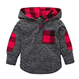 0-3 Years Old Toddler Kid Baby Girl Fashion Plaid Hoodie Tops Coat Sweatshirt Pocket Pullover Warm Jackets Stretchy Clothes (Gray, 18-24 Months)