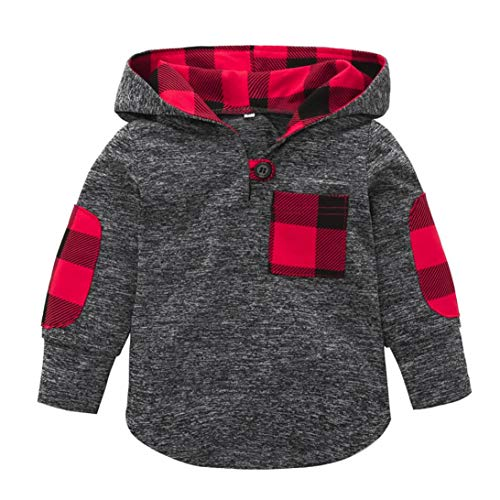0-3 Years Old Toddler Kid Baby Girl Fashion Plaid Hoodie Tops Coat Sweatshirt Pocket Pullover Warm Jackets Stretchy Clothes (Gray, 3T(2-3 Years))