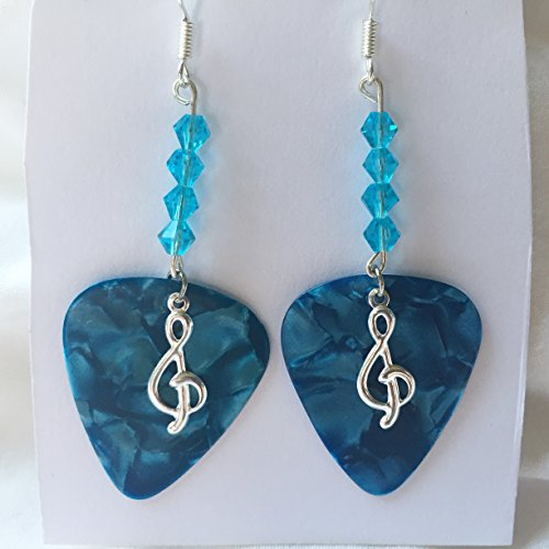 Guitar Pick Jewelry Earrings - Sky Blue Crystals and Silver Treble Clef Note Charm Dark Teal Guitar Pick Earrings