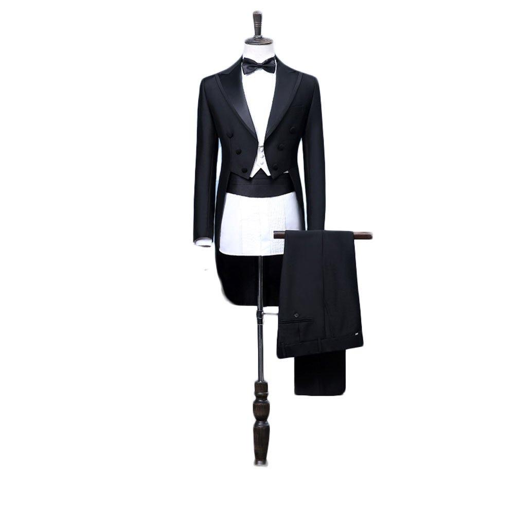 Botong Tailcoat Wedding Suit for Men Black Jacket Tuxedo 3 Pieces Mens Suit M