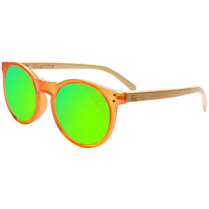 Gafas De Sol Fans Con Bambú, Polarizadas, Guanche, Unisex, Frosted Orange