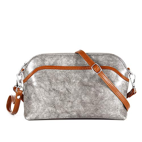 Lecxci Small Women's Soft Vintage Leather Crossbody Travel Smartphone Bag Wristlets Clutch Wallet Purse (Vintage Patchwork, Gray)