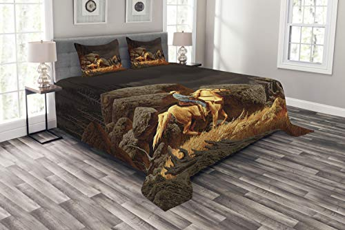 Ambesonne Western Bedspread, Rock Mountain Landscape with Cowboy Riding Horse NorthmericStyle, Decorative Quilted 3 Piece Coverlet Set with 2 Pillow Shams, Queen Size, Yellow Grey (Western Coverlet Set)