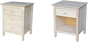 International Concepts Nightstand with 3 Drawers, Standard & Nightstand with 1 Drawer, Unfinished