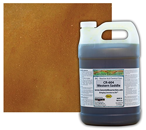Western Concrete (Concrete Stain Professional Easy to Use Acid Stain - Western Saddle (Brown w/Copper Undertones)- 1 Gallon Concrete Resurrection)