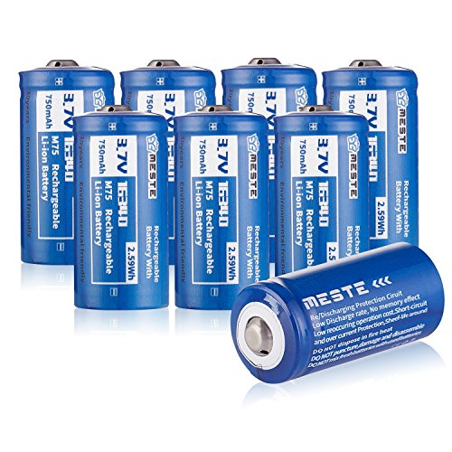 MESTE CR123a 16340 Rechargeable Battery,3.7v 700mAh Lithium Batteries For Flashlight,Arlo Cameras 8PACK (M70)