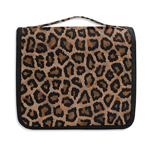 Hanging Travel Toiletry Bag Kit Makeup Case Cosmetics Organizer for Men Women Llama Alpaca And Cactus leopard