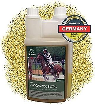 EMMA Aceite de Germen de arroz para Caballos la alimentación de los Caballos favorece el Desarrollo Muscular I Gamma-orizanol + Vitamina E para el Rendimiento y la Musculatura 1 L