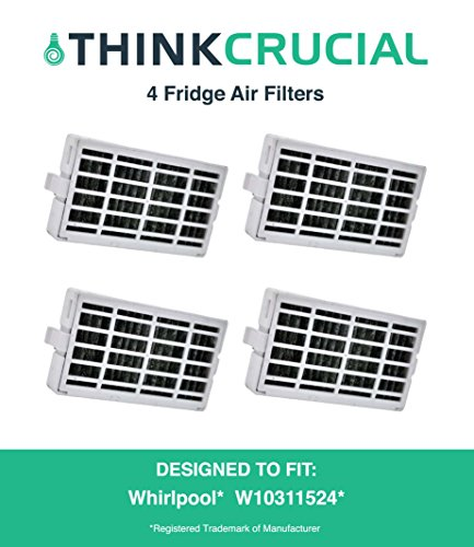 4-pack Refrigerator Air Filters fits Whirlpool Air1 Fresh Flow Compare to Part # W10311524, 2319308 & W10335147, Designed & Engineered by Crucial Air
