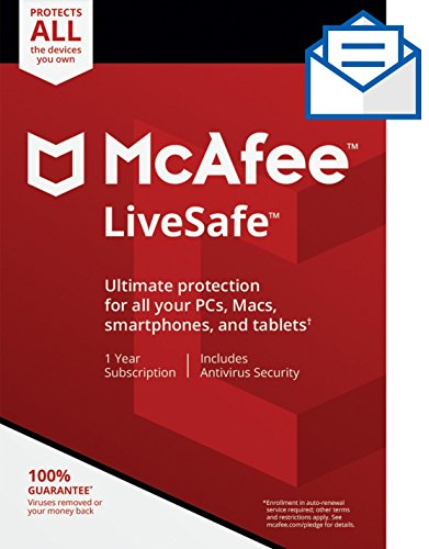 McAfee Live Safe, Unlimited Devices, Antivirus Software, Identity Security, 1 Year Subscription-[Key...