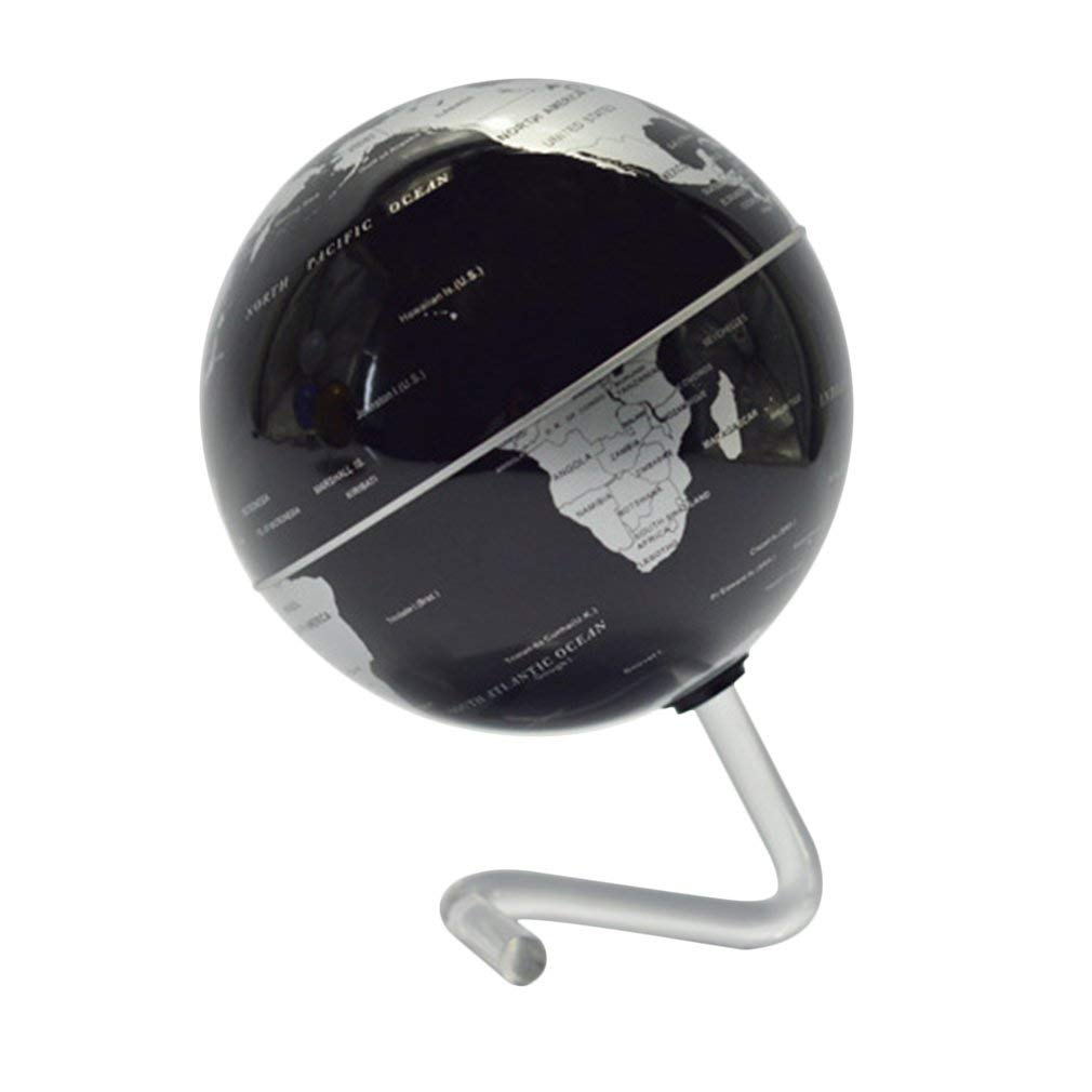 OurLeeme 4 Self-rotante Geografia mondo Globe World Map Ornamenti pile Home Office DÃcor nero